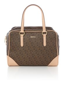 Coated logo brown satchel bag