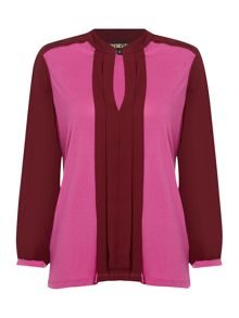 Biba Colour block jerset & woven blouse