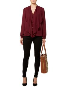 Frill front button blouse