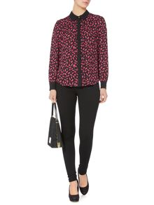 Biba Lips printed placket detail shirt