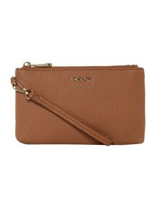 DKNY Tribeca light tan wristlet pouch clutch bag