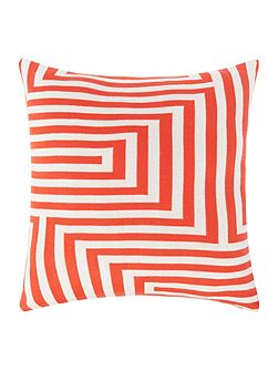 Knitted geo cushion, red