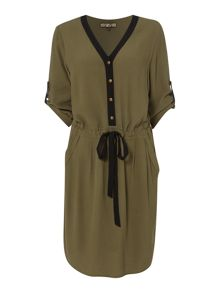 Biba V neck button detail tie waist dress