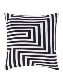 Knitted geo cushion, black