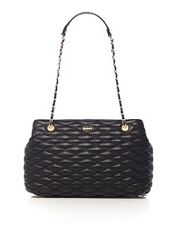 Quilted black tote bag