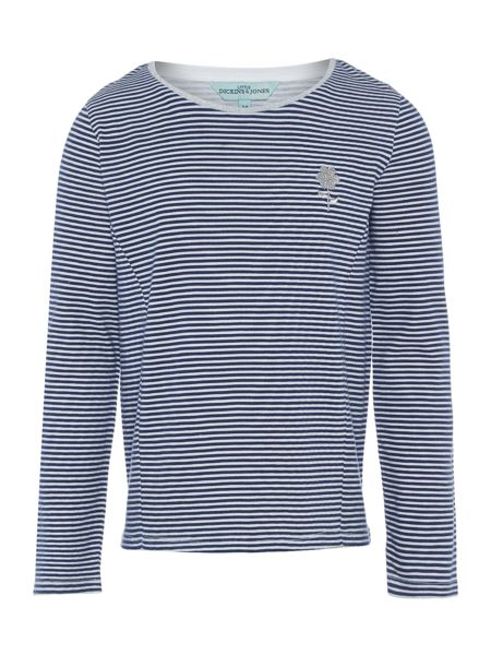 Little Dickins & Jones Girls Multistripe top with flower embroidery