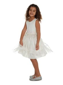 Little Dickins & Jones Girls Sparkly waist tulle dress
