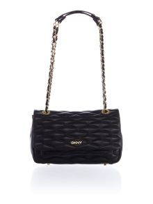 Quilted black flap over shoulder bag