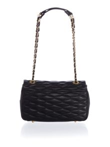 DKNY Quilted black flap over shoulder bag