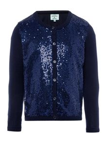 Little Dickins & Jones Girls Sequin front cardigan