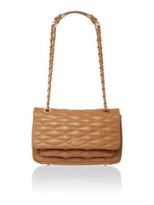 Quilted light tan flap over shoulder bag