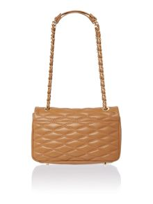 DKNY Quilted light tan flap over shoulder bag