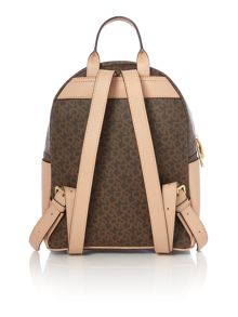 Coated logo brown backpack