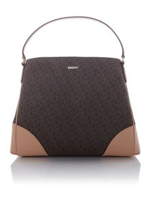 DKNY Coated logo brown hobo bag