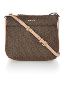 DKNY Coated logo brown top zip cross body bag