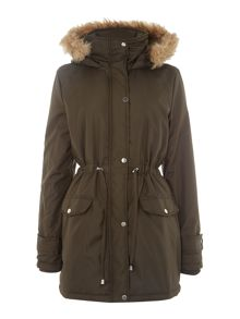 Tie Waisted Fur Trim Hooded Parka