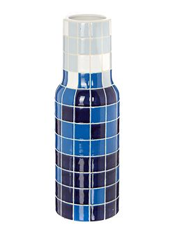 Ivan blue multi mosaic bottle vase H37cm