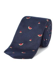 New & Lingwood Penryn Watermelon jacquard silk tie