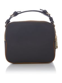 Rubberised leather dark grey cross body bag