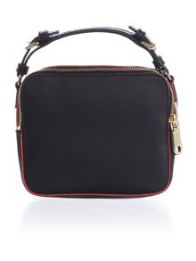 Rubberised leather black cross body bag