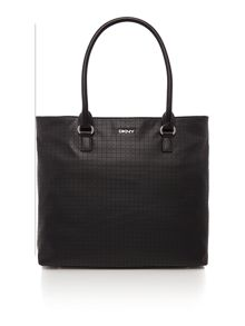 Soft perforated leather black tote bag