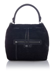 Snake black bucket bag