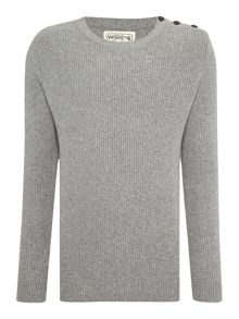 Acid Wash Crew Neck Knitted Jumper