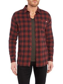Jack & Jones Dark Ombre Check Flannel Long Sleeve Shirt