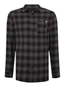Dark Ombre Check Flannel Long Sleeve Shirt