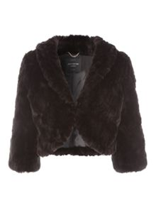 Jane Norman Crop Sleeve Faux Fur Shrug