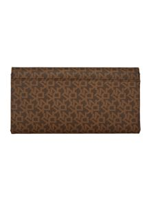 DKNY Coated logo brown large travel wallet