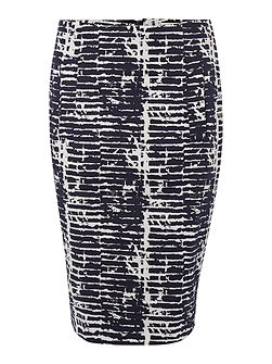 Linea Abstract print pencil skirt