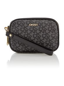 DKNY Coated logo black double zip wristlet pouch