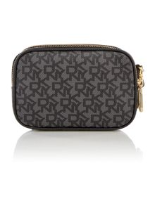 Coated logo black double zip wristlet pouchette