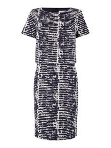 Double layer abstract print shift dress