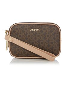 Coated logo brown double zip wristlet pouchette