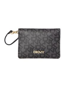 DKNY Coated logo black mirror card case