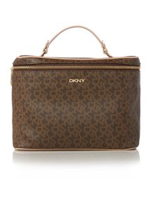 DKNY Coated logo brown traincase set