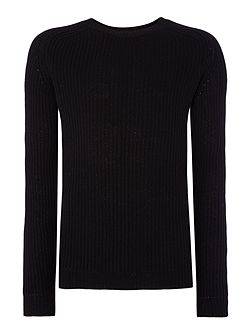 Ribbed Crew Neck Knitted Jumper