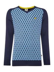 Golf V neck argyle print knit