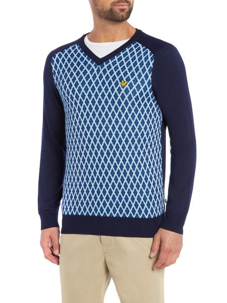 Lyle and Scott Golf V neck argyle print knit