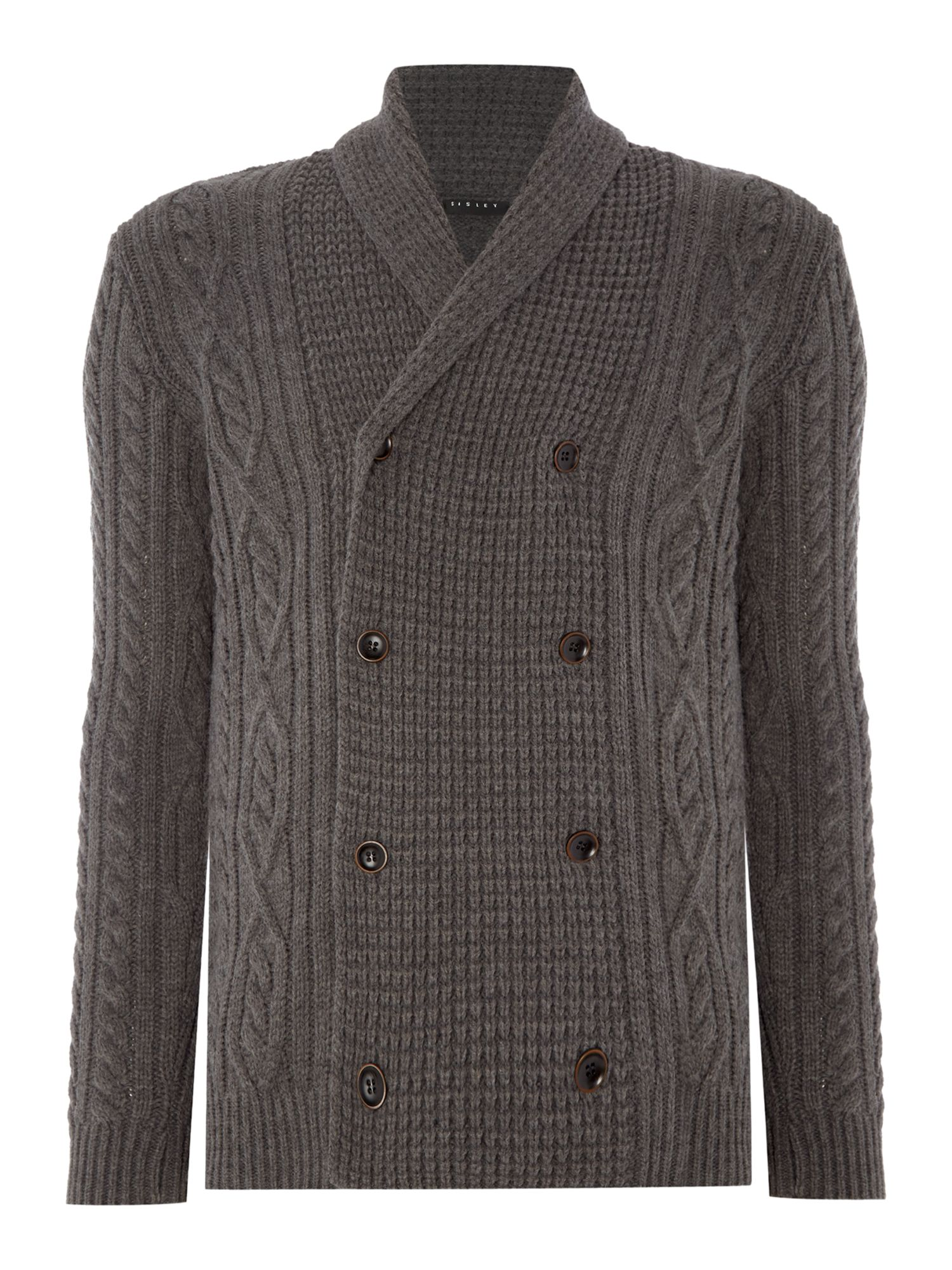 Mens Sisley Men Double Breasted Cable Knit Cardigan $75.00 AT vintagedancer.com
