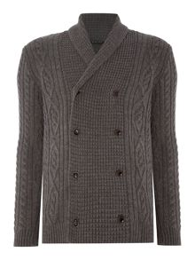 Sisley Men Double Breasted Cable Knit Cardigan