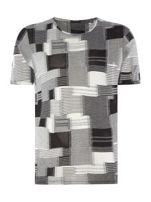 Sisley Men Square Print Crew Neck T-shirt