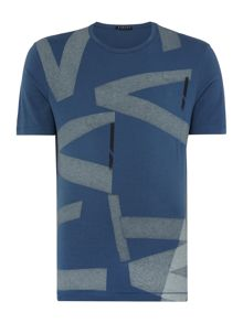 Sisley Men Tape Graphic Crew Neck T-shirt