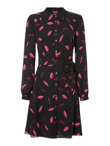 Biba Lips printed shirt dress
