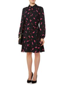 Lips printed shirt dress