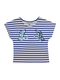 Girls Sequin butterfly striped tee