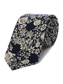 New & Lingwood Hurley Printed floral cotton tie