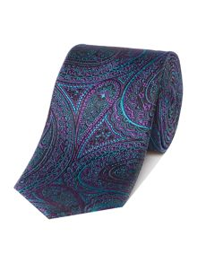 New & Lingwood Settle Paisley jacquard silk tie